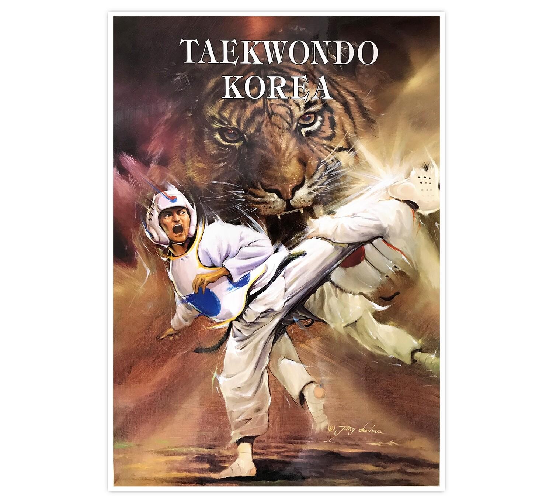 Taekwondo Kicking Guy on Tiger Poster