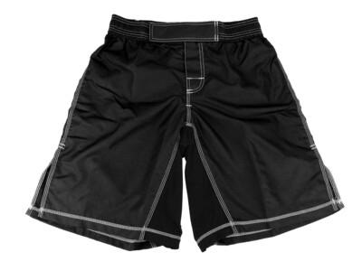 MMA Shorts,  Elastic Waist, Black w/ White Stitch