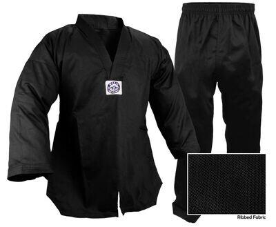 Taekwondo Uniform, Ribbed, Black
