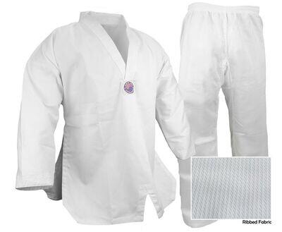 Taekwondo Uniform, Ribbed, White