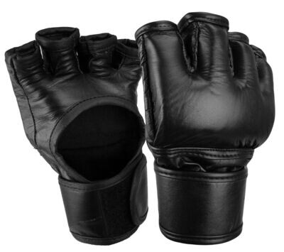 MMA Fight Gloves, Leather, Black
