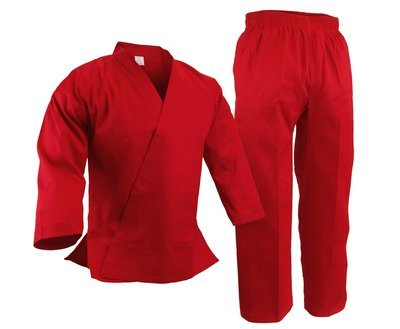 Student Karate Uniform, Light W't., Red