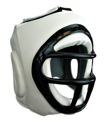 Head Gear, w/Cage, Synthetic Leather, White