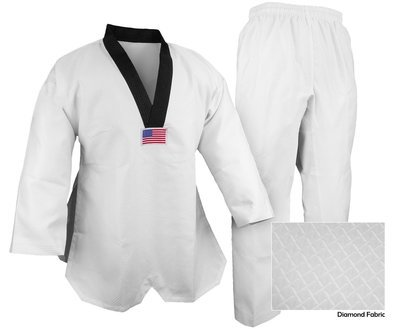 Taekwondo Uniform, DLX Jacquard, White, Black Trim