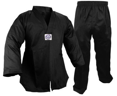 Student Taekwondo Uniform, 8oz. Light, Black