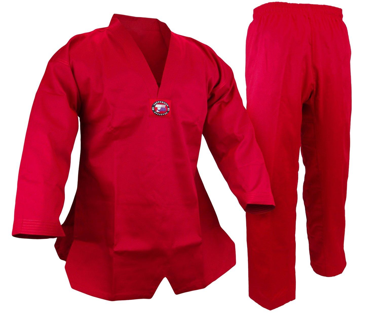 Student Taekwondo Uniform, 8oz. Light, Red
