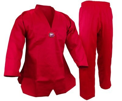 Student Taekwondo Uniform, 8oz. Light, Red