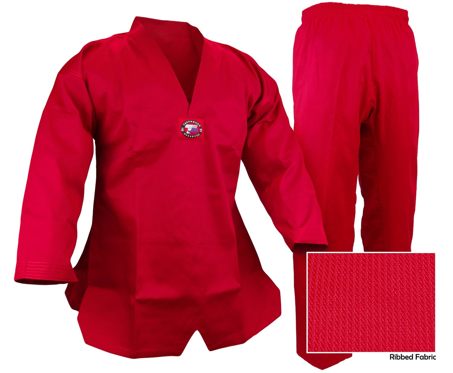 Taekwondo Uniform, Ribbed, Red