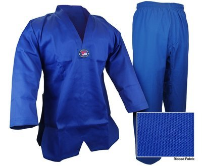 Taekwondo Uniform, Ribbed, Blue