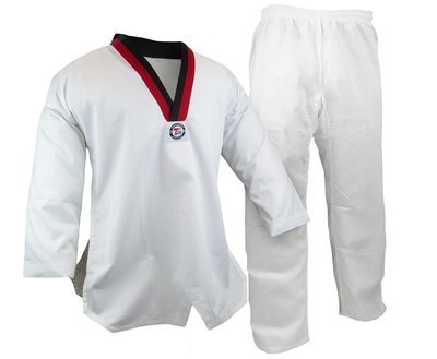 Student Taekwondo Uniform, 8oz. Light, White W/ Poom Trim
