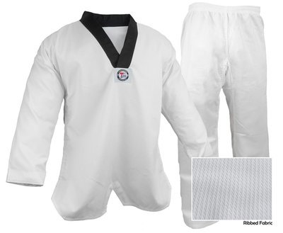 Taekwondo Uniform, Ribbed, White W/ Black Trim