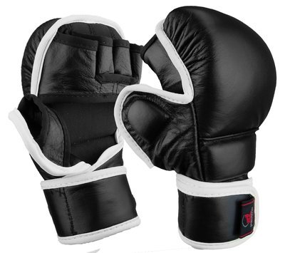 MMA Sparring Gloves, Synthetic Leather, Black