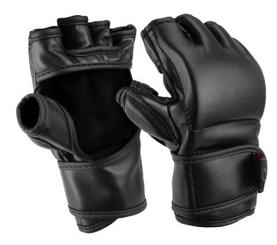 MMA Training Gloves, Thumb Protect, Leather, Black