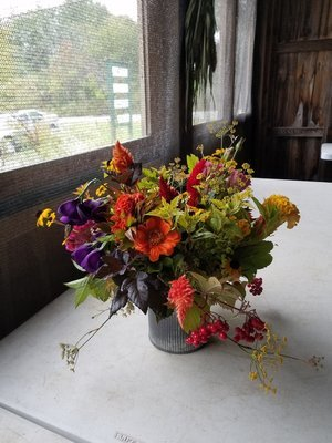 Seasonal Arrangement in metal pot