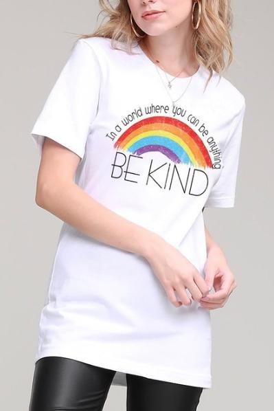 Be Kind Rainbow Tee | White
