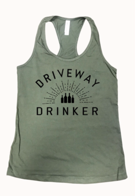 DRIVEWAY DRINKER racer back tank | olive