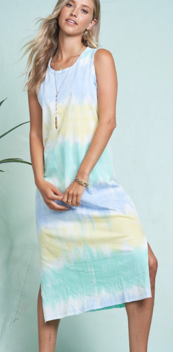 Tie Dye Midi Dress | Aqua Yellow Mix