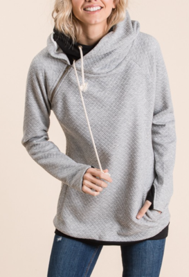 Quilted Double Hoodie | Grey
