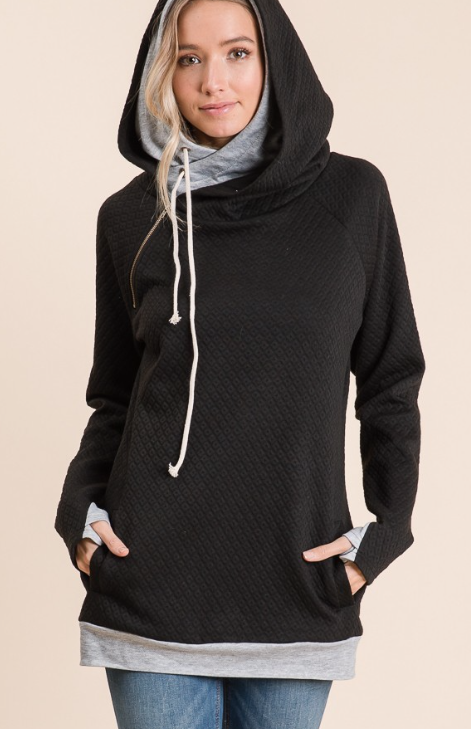 Quilted Double Hoodie | Black