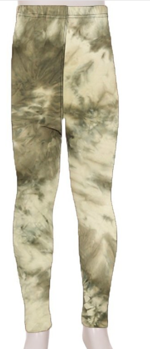 KIDS SUPER SOFT LEGGINGS | Olive tie dye