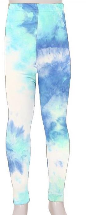 KIDS SUPER SOFT LEGGINGS | Bright Blue tie dye