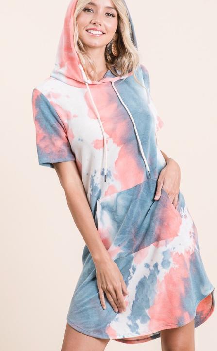 Vibrant Tie Dye Hoodie Dress
