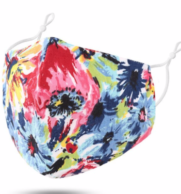 Floral Water Colours Mask (adjustable ear loops)
