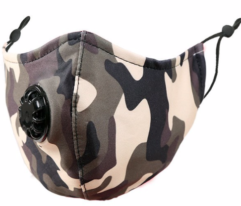 Camo ~ Vented Mask (adjustable ear loops)