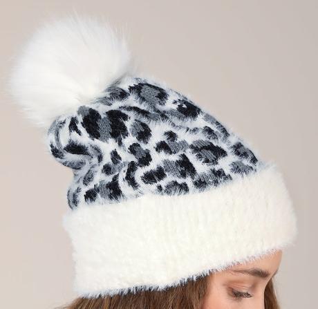 Fluffy Leopard Pom Beanie