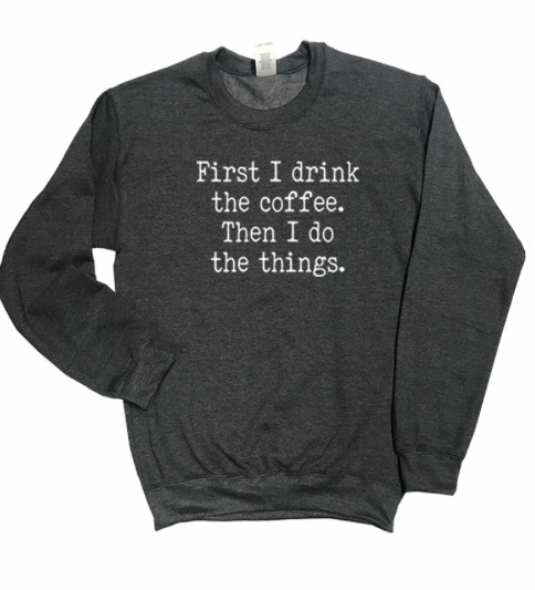 Coffee + Things Sweater | Charcoal