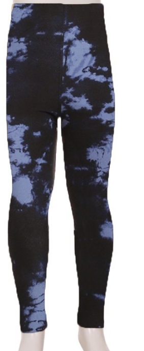 KIDS SUPER SOFT LEGGINGS | Blue + Black tie dye