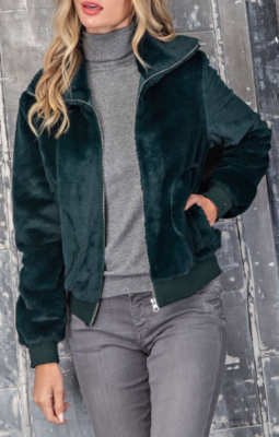 Solid Faux Fur Bomber