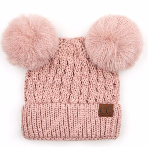 Double Pom cable knit beanie