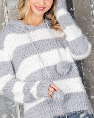 Pom Pom Sweater | Grey