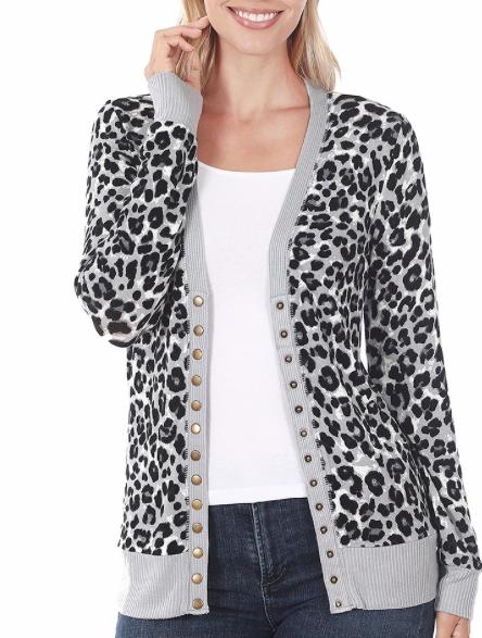 Snap Button Cardi | Grey Leopard
