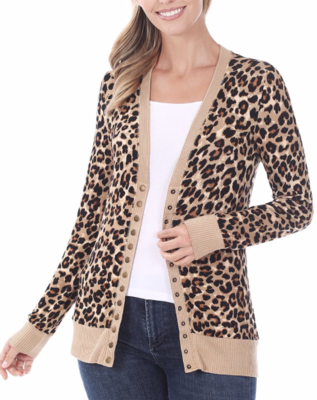Snap Button Cardi   Taupe Leopard