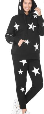 ALL STAR LOUNGEWEAR | Black (hoodie set)