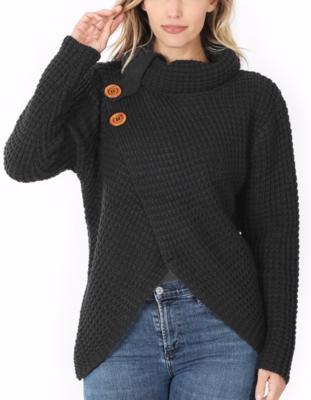 Asymmetrical Button Sweater