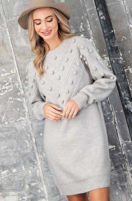 Mini Pom Sweater Dress  light grey