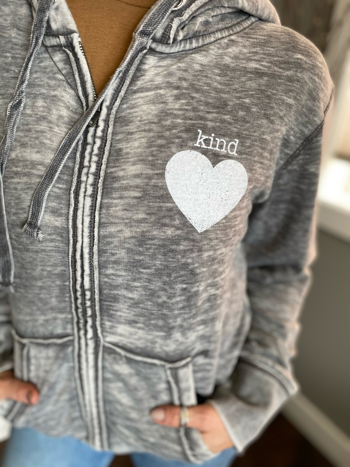Kind Heart Vintage Zip Up | Dark Smoke