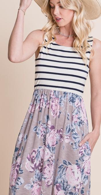 Stripes + Floral  Maxi