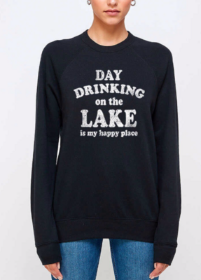 Day Drinking, Lake, Happy Place | Black