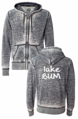 Lake Bum Zip Up Hoodie | Dark Smoke