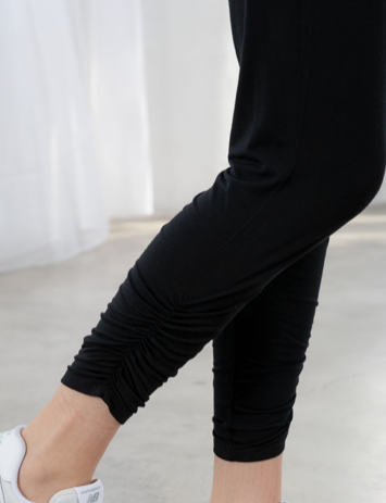 Retreat Side Ruched Pants (LOVESTITCH)  | Black