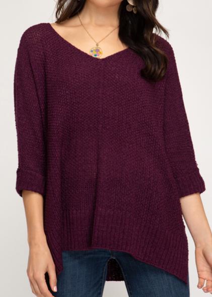 Posh Sweater   Wine