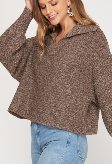 Retro Crop Sweater | Mocha Mix