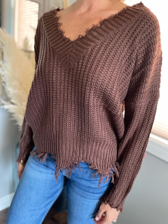 Vintage Distressed Knit | Chocolate