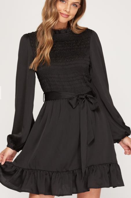 Smocked Satin Dress | Black