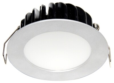 ROBUS: 10W Dimmable LED Downlight C/W Flex and Plug, 3000k, Silver, Warm White IP44