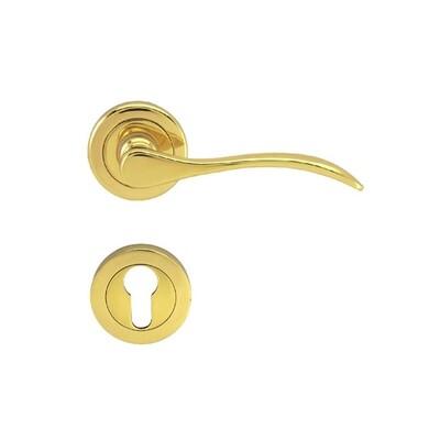 Lever Handle On Rose W/Escutcheon - LB402 - PB